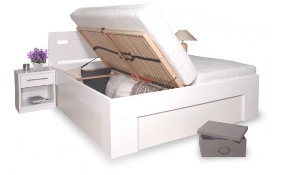 Manželská postel s úložným prostorem VAREZZA 6A 160x200, 180x200, masiv buk, bílá