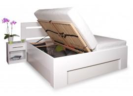 Zvýšená postel s úložným prostorem VAREZZA 5 senior 160x200, 180x200, masiv buk, bílá