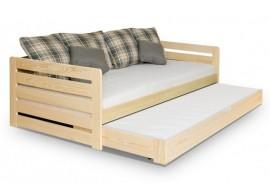 Dětská postel s přistýlkou, zábranou a úložným prostorem RODA, masiv borovice