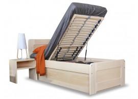 Zvýšená postel s úložným prostorem REMARK senior 90x200, čelní výklop, masiv smrk