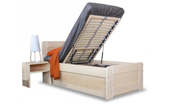 Zvýšená postel s úložným prostorem MARK senior 90x200, čelní výklop, masiv smrk