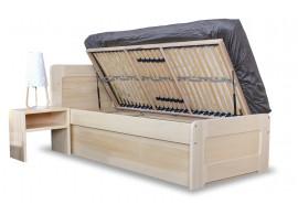 Zvýšená postel s úložným prostorem REMARK senior 90x200, boční výklop, masiv smrk