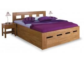 Zvýšená postel dvoulůžko s úložným prostorem MERIDA senior, masiv buk