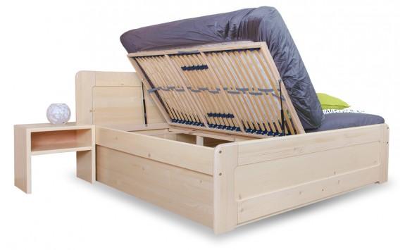 Zvýšená postel s úložným prostorem MARK senior 180x200, boční výklop, masiv smrk