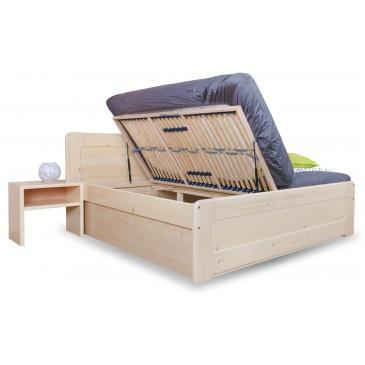 Zvýšená postel s úložným prostorem REMARK senior 180x200, boční výklop, masiv smrk