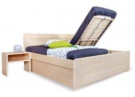 Zvýšená postel s úložným prostorem REMARK senior 180x200, čelní výklop, masiv smrk