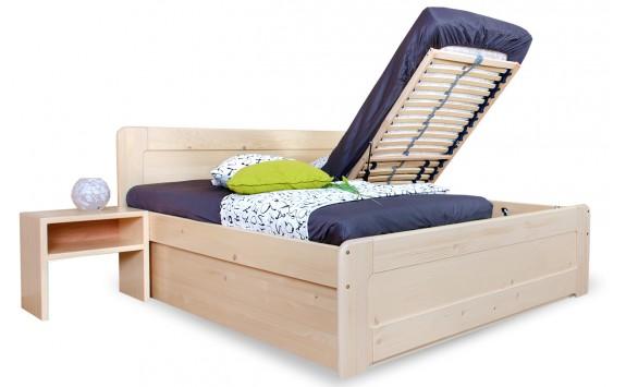 Zvýšená postel s úložným prostorem MARK senior 180x200, čelní výklop, masiv smrk