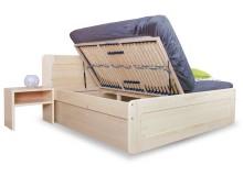 Zvýšená postel s úložným prostorem REMARK 2 senior 180x200, boční výklop, masiv smrk