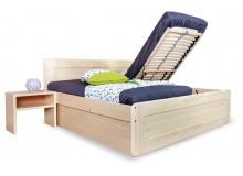 Zvýšená postel s úložným prostorem REMARK 2 senior 180x200, čelní výklop, masiv smrk