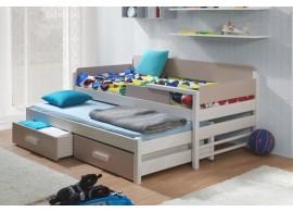 Dětská postel s přistýlkou a úložným prostorem DORIS, masiv borovice