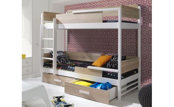 Dětská patrová postel se zábranou a úložným prostorem TEREZA, masiv borovice