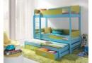 Poschoďová postel s přistýlkou a úložným prostorem pro 3 děti KVIDO, masiv borovice