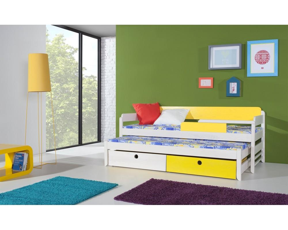 Dětská postel s přistýlkou a úložným prostorem NATY1, masiv borovice