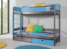 Dětská patrová postel se zábranou a úložným prostorem NATY2, masiv borovice