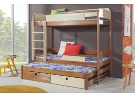 Poschoďová postel s přistýlkou a úložným prostorem pro 3 děti NATY3, masiv borovice