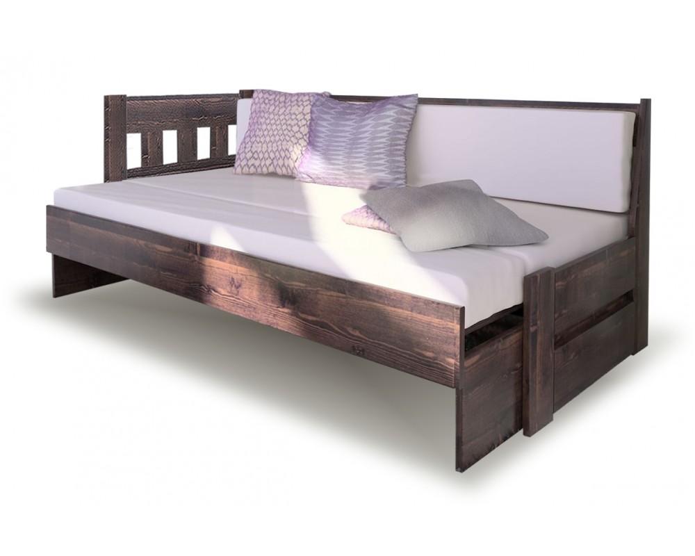 Rozkládací postel ze smrku ARLETA TWIN - Levá