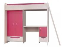 Patrová postel se skříňí a stolem Hithot, dub světlý-růžová
