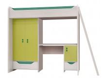Patrová postel se skříňí a stolem Hithot, dub světlý-zelená
