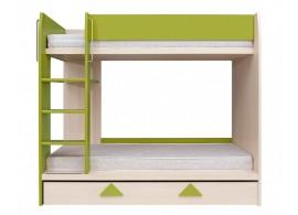 Dětská poschoďová postel Střelka, dub světlý - zelená