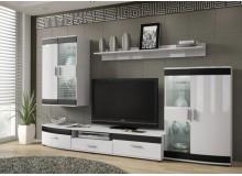 Moderní obývací stěna SIENA, bílá lesk-černá