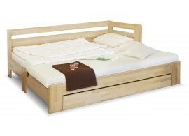 Rozkládací postel s úložným prostorem DUO LUX pravá, 90x200, buk