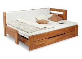 Rozkládací postel s úložným prostorem DUO NINA pravá, 90x200, buk