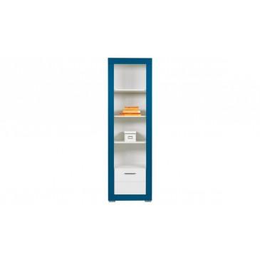 Vysoký regál Tvin, bílá-modrá (TW6)