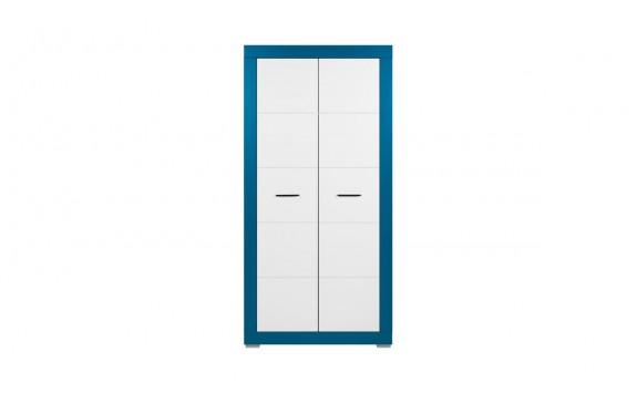 Šatní skříň Tvin, bílá-modrá