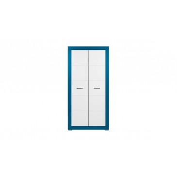 Šatní skříň Tvin, bílá-modrá (TW9)