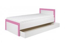 Postel s úložným prostorem Tvin, bílá-růžová