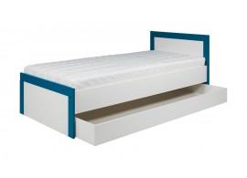 Postel s úložným prostorem Tvin, bílá-modrá