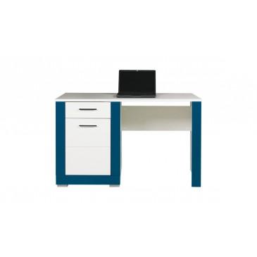 Psací stůl Tvin, bílá-modrá (TW12)