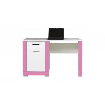 Psací stůl Tvin, bílá-růžová (TW12)