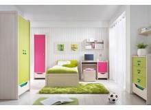 Dětský nábytek HITHOP, lamino dub/růžovo-zelený