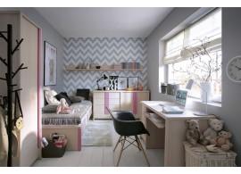 Dětský nábytek CAPS, lamino dub/růžová