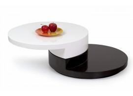Stylový kulatý konferenční stolek ADELE, 80x34, bílá - černá