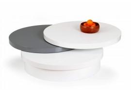 Stylový kulatý konferenční stolek NAOMI, 80x27, bílá - šedá