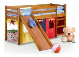Zvýšené jednolůžko - dětská postel s domečkem a se skluzavkou NEMI