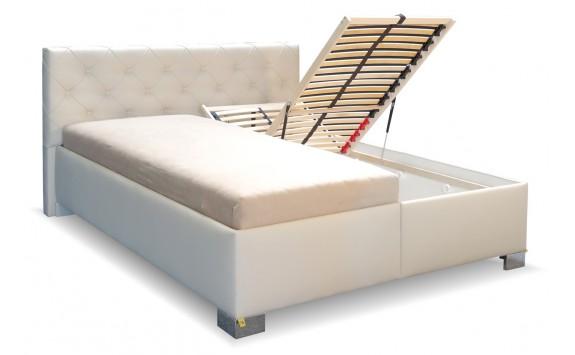9b98baaac4e55 Zvýšená čalouněná postel s úložným prostorem Jolanda - Nábytek INTENA