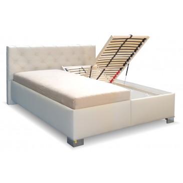 Zvýšená čalouněná postel s úložným prostorem Jolanda