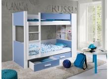 Dětská patrová postel se zábranou a úložným prostorem Gustav, masiv borovice