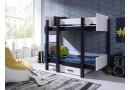 Dětská patrová postel se zábranou a úložným prostorem Astor, masiv borovice