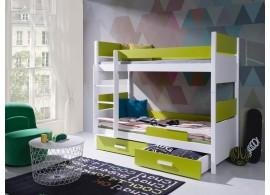 Dětská patrová postel se zábranou a úložným prostorem Líza, masiv borovice