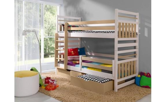 Dětská patrová postel se zábranou a úložným prostorem Miroslav, masiv borovice