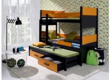 Poschoďová postel s přistýlkou a úložným prostorem pro 3 děti August, masiv borovice