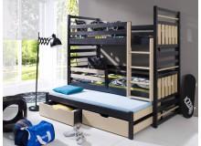 Poschoďová postel s přistýlkou a úložným prostorem pro 3 děti Hanka, masiv borovice
