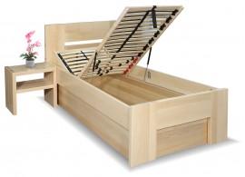 Zvýšená postel s úložným prostorem Matěj, 80x200, 90x200, masiv buk