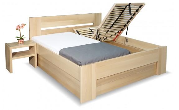 Zvýšená postel s úložným prostorem Matěj, 160x200, 180x200, masiv buk