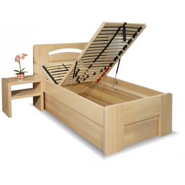 Zvýšená postel s úložným prostorem Riči, 80x200, 90x200, masiv buk