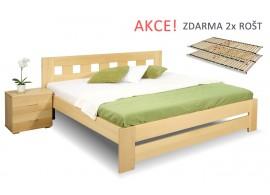 Dřevěná postel s rošty Barča, 160x200, 180x200, masiv buk